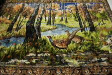 Vintage Multi-Colored P&C Velvet FALL PHEASANT FOREST Tapestry 78 x 48 Italy-B92