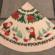 Vintage Swedish Christmas Beige Round Table Cloth Tablecloth Snowy Trees Elves