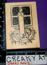 CANDLE HOLLY BERRY WINDOW RUBBER STAMP DUCKS IN A ROW