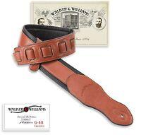 Walker & Williams G-48 Chestnut Brown Padded Guitar Strap Glove Leather Back