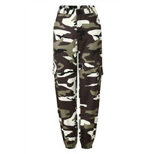 Women Camo Cargo Trousers Casual High Waist Pant Military Army Combat Camouflage