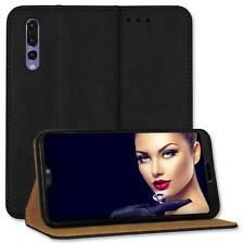 Custodia bookstyle per Huawei P20 Pro (CLT-L04/L09/L29 /6.1'')- vera pelle- nero