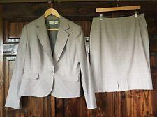 Tahari ASL Gray Plaid One Button Blazer Skirt Lined 2Pc Suit Size 12 Women's