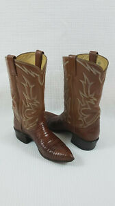 Tony Lama western Style 8082 Lizard Leather Cowboy Brown Boots Shoes sz 5B  H71