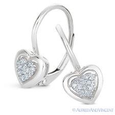0.09ct Round Cut Diamond Dangling Heart Charm Leverback Earrings 14k White Gold