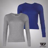 Ladies Branded Golddigga Lightweight Casual Rib Knit Jumper Sweatshirt Size 8-16