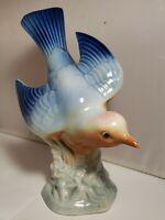 "Vintage Porcelain Bird 8"" Robin bird Blue Wings blue bird porcelain figurine"