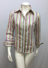 ETRO SHIRT TOP STRIPED PINK PURPLE GREEN & WHITE NEEDS TLC SIZE 42 FITS SMALL