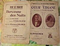 Ancienne Partition Coeur Tzigane valse viennoise Vercolier berceuse de nuit 1910