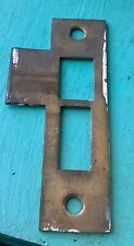 """Vintage 3-1/2"""" Solid Brass Door Mortise Lock Strike Plate Keeper Hardware"""