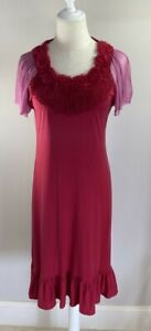 Moss & Spy - Red & Pink Dress - Size 14 - Preowned