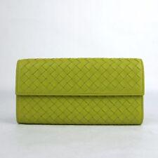 Bottega Veneta Women's Yellow Green Leather Intercciaco Woven Wallet 261995 7316