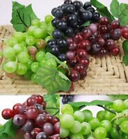 Nice Bunch Lifelike Artificial Grapes Plastic Fake Fruit Home Decoration HV