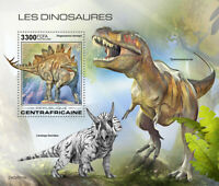 Central African Rep Dinosaurs Stamps 2020 MNH T-Rex Stegosaurus 1v S/S