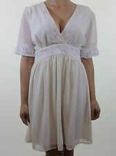 Ivory cream embroidery floral trim silk feel smock tea dress size 10 euro 38