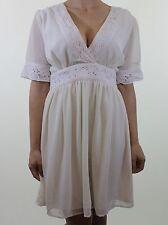 Ivory cream embroidery floral trim silk feel smock tea dress size 10 euro 38