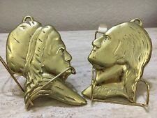 "Vintage Brass George & Martha Washington Silhouttes 2 Pc Mt Vernon 6""H Plaque"
