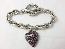 Silver-tone Purple Rhinestone Heart Charm Detail Toggle Clasp Costume Bracelet