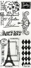 Tim Holtz Clear Stamps - Postage Stamp, Eiffel Tower, Artist, France, Harlequin