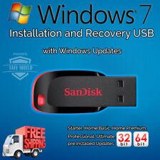 Windows 7 32 / 64 bit Home Pro Enterprise Upgrade Repair Install 16GB USB Drive
