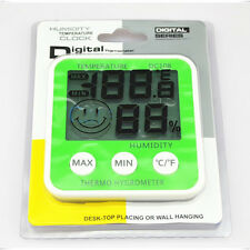 Portable Large LCD Digital Thermo Hygrometer Clock Temp Humidity Meter Green ℃/℉