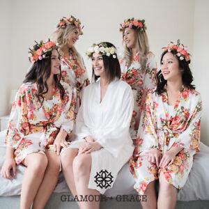 Floral Vintage Satin Robe Dressing Gown Wedding Bridal Bride Bridesmaid Silk