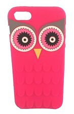Super Cute HOT Pink 3D Retro Owl Silicone Phone Case Cover Fits iPhone 5 and 5S