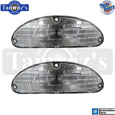 55 Chevy Front Parking Turn Light Lamp Lens - CLEAR w/ Chrome BOWTIE Lenses PAIR