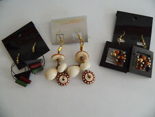 3 x Tolle Ohringe.Metal und Kunststoff,Holz. Fashion Earrings