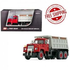Mack R Tandem Axle Dump Truck Red with Gray Body 1 64 Diecast Model by DCP Gear