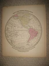 FINE ANTIQUE 1864 WESTERN HEMISPHERE WORLD MAP UNITED STATES HAWAII WEST INDIES