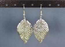 "gold leaf earrings lightweight dangle leaves 2.25"" long"
