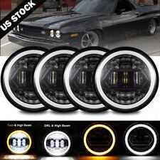 "4PCS 5 3/4"" 5.75 Projector LED Headlights Sealed Beam  Ring Head Lamp Bulbs"