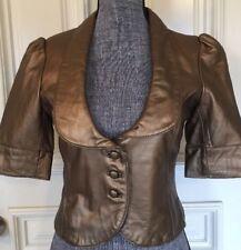Marciano (Guess )Women Jacket Blazer Gold Genuine Leather  Medium Short Sleeves