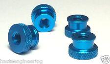 "1/4-20 x 3/8"" Knurled Thumb Nut (25 Pieces) Aluminum Blue Anodize"