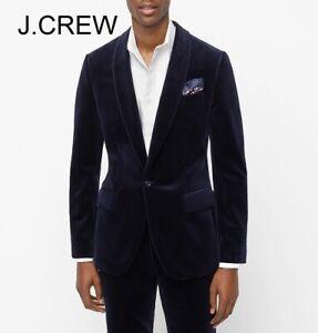 J.CREW Ludlow velvet blazer navy blue dinner jacket shawl collar 38S, slim 40S