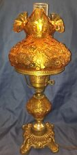 Vintage Fenton Amber Glass Floral Poppy Electric Student Hurricane Lamp Old GWTW