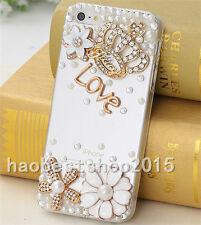 Handmade Glitter Luxury Bling Diamond Soft Gel Rubber back Phone Cover Case #M