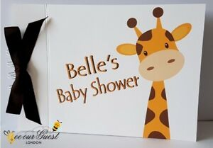 PERSONALISED GIRAFFE - BABY SHOWER / CHRISTENING GUEST BOOK - PARTY SUPPLIES