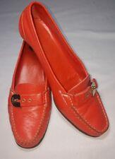 Rare Women's Salvatore Ferragamo Logo Orange Leather Round Toe Heels Pumps sz 8C