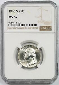1946-S 25C NGC MS 67 Washington Silver Quarter