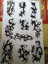 "10pgs TRIBAL TATTOO FLASH 8.5x11"" BLACK ink display piercing art wall surf waves"