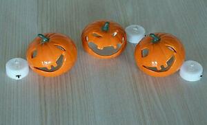 Set of 3 Halloween Ceramic Pumpkin Decorations + 3 LED Tea Lights