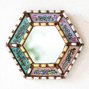 Small Multicolor Mirrors Wall art Decorative   Accent Hexagon Silver Wall Mirror