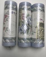 Brewster Wallpaper Border Blue PinK Flowers 3-5 yd~925B81605 New 15 Yards