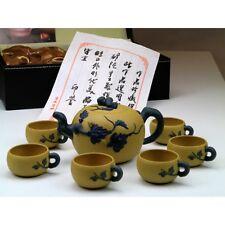 "Chinesisches Teeservice aus Yixing-Ton ""Mystisches Blattwerk"", gelb Keramik"