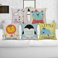 Cartoon Animal Pillow Case Cotton Linen Sofa Waist Cushion Cover Home Decor