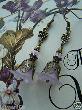 LUCITE FLOWER EARRINGS VINTAGE STYLE STEAMPUNK LILAC