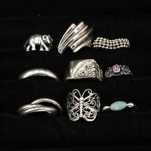 VTG Sterling Silver - Lot of 9 Assorted Solid & Gemstone Rings NOT SCRAP - 39g