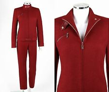 BALLY 2 Pc Rust Red Wool Angora Zip Up Jacket Coat Straight Pant Suit Set Sz 44